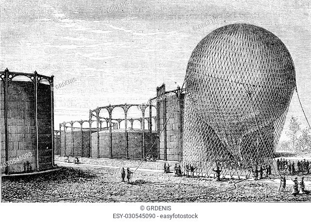 Departure from the gas plant, vintage engraved illustration. Magasin Pittoresque 1870