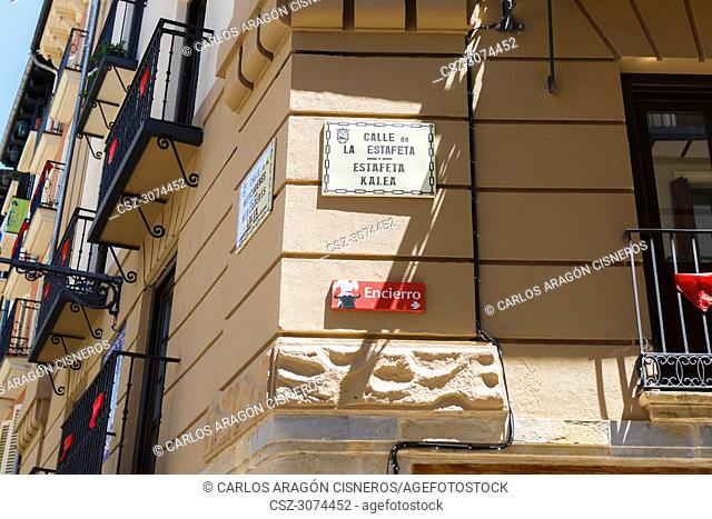 PAMPLONA, SPAIN - JULY 13, 2017: Estafeta street sign, the most famous street in Pmaplona during the San Fermin festival
