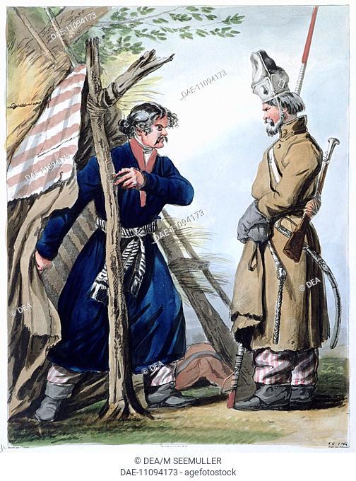 Bivouac cossack, by Louis-Philibert Debucourt. Russia 18th century. Print.  Paris, Hôtel Carnavalet (Art Museum)