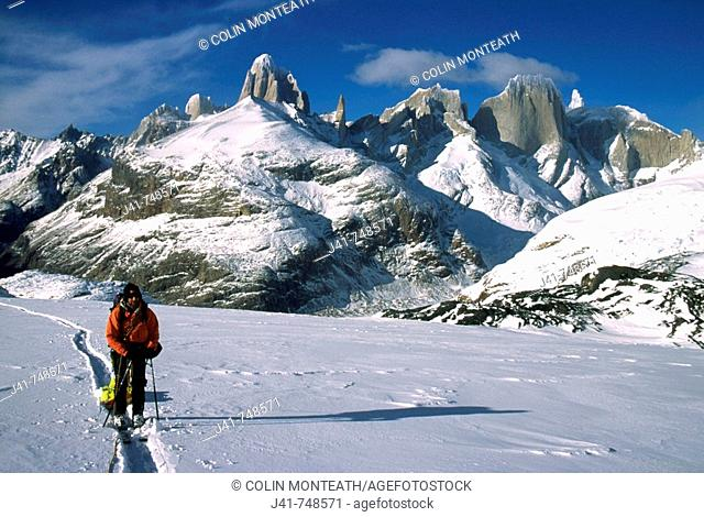 Ski party crossing Marconi Pass South Patagonian icecap Los Glaciares National Park Patagonia