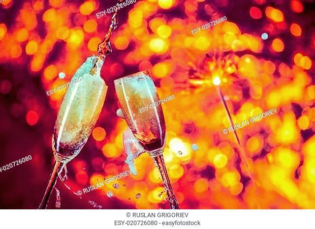 Champagne , wine glass black background