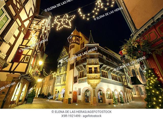 Maison Pfister  German Reinaissance with christmas lights at night  Colmar  Alsace Wine route  Haut-Rhin  Alsace  France