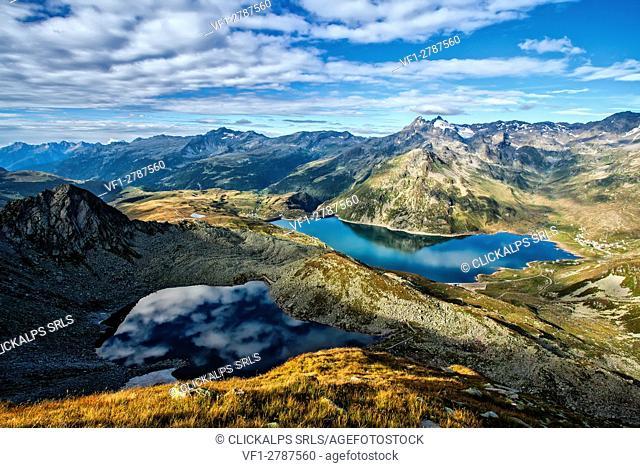 Lago Nero and Montespluga lake, Spluga Valley. Province of Sondrio, Lombardy, Italy