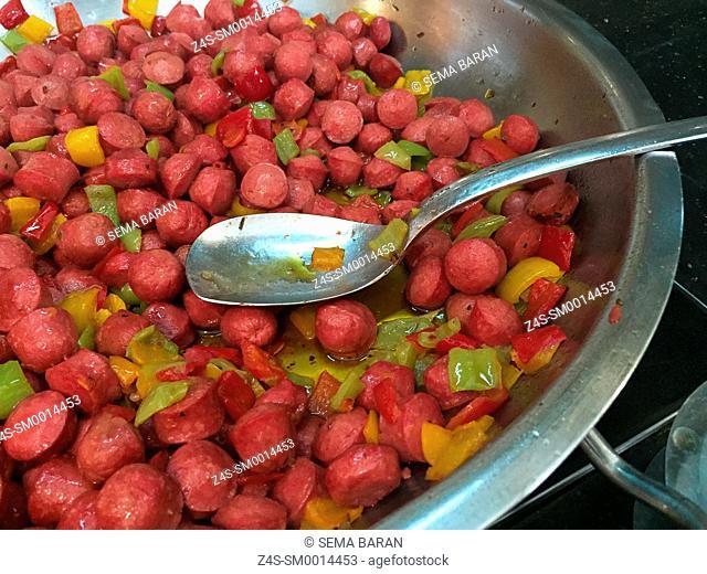 Saute sausages ready to eat on the pan, Taksim, Istanbul, Turkey