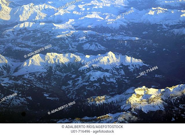 Aerial of the Alps, evening