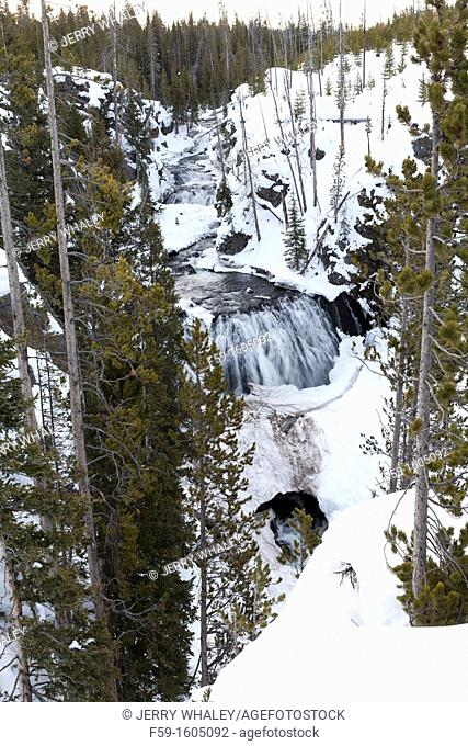 Firehole Falls, Winter, Yellowstone NP, WY