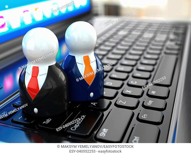 Social media concept. People on laptop keyboard. 3d