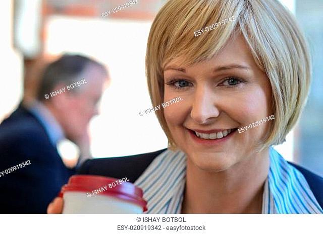 Businesswoman in an open restaurant