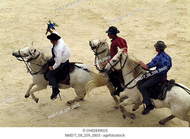 High angle view of three cowboys on horseback at a rodeo, Provence, France