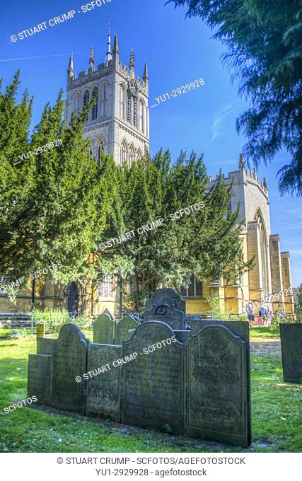 HDR image of gravestones at St Marys Church in Melton Mowbray Leicestershire UK