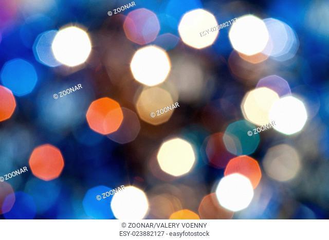 blue blurred shimmering Christmas lights