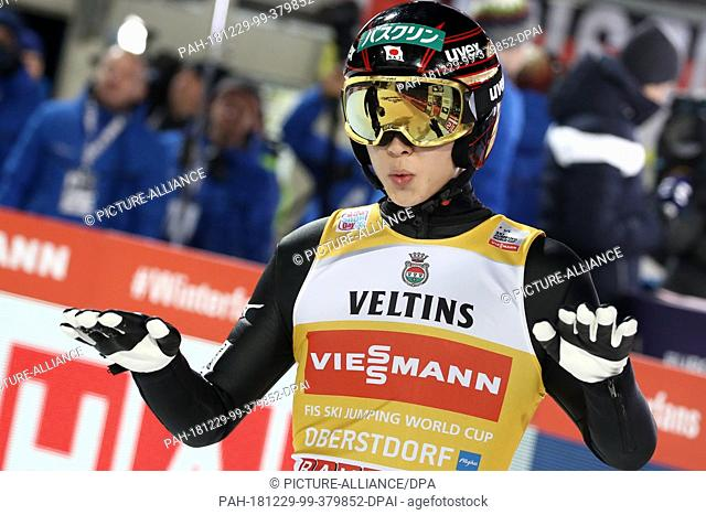 29 December 2018, Bavaria, Oberstdorf: Ski jumping: Four Hills Tournament, Big Hills, Men, Qualification. Ryoyu Kobayashi, ski jumper from Japan