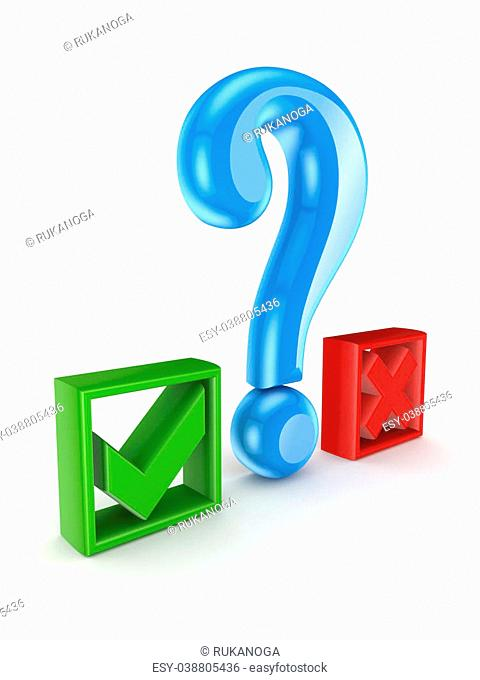 Query mark between tick and cross marks.Isolated on white background.3d rendered