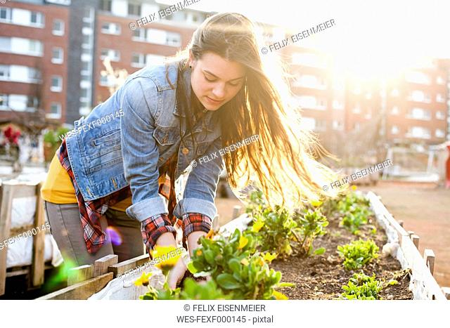 Portrait of young woman at raised bed in front of multi-family house