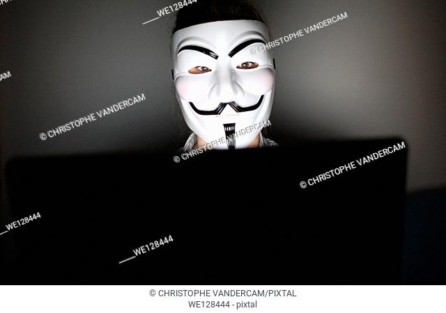 An anonymous masked man is pictured in front of a computer