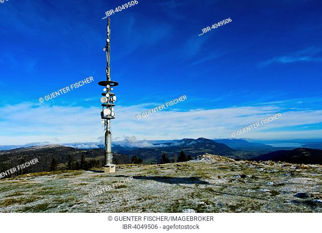 Summit plateau of Mt Dent de Vaulion with a transmission tower, Le Pont, Canton of Jura, Canton of Vaud, Switzerland