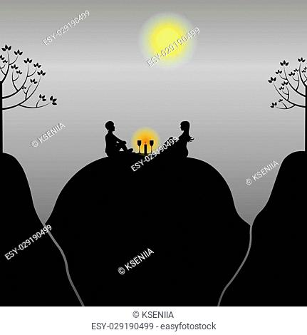 vector illustration romantic picnic in the evening with candle