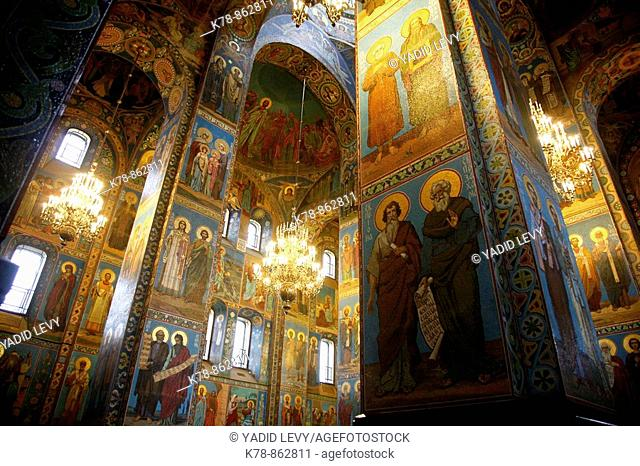 The interior of the Church on Spilled blood, St  Petersburg, Russia