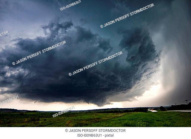 Rotating thunderstorm over rural area, Waynoka, Oklahoma, United States, North America