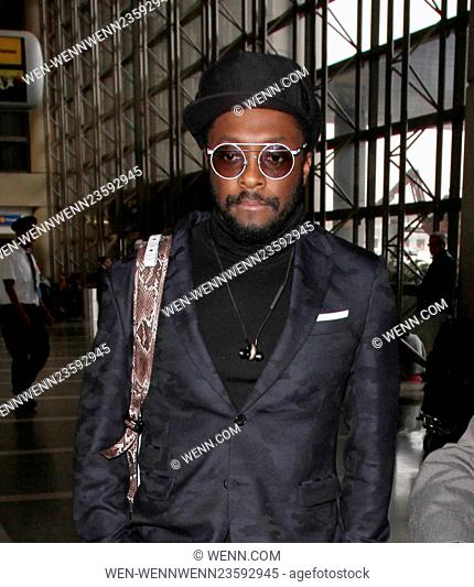 will.i.am departs from Los Angeles International Airport (LAX) Featuring: will.i.am Where: Lax, California, United States When: 03 Mar 2016 Credit: WENN