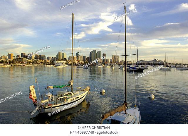 USA, California, SOCAL, San Diego, city, harbor, skyline, boats, west coast