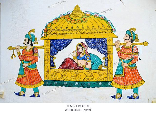 Mural of a maharani being carried by bearers in a sedan chair, glowing colours on a white background, in the City Palace, Udaipur, India