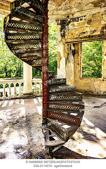 Old damaged coffee pavilion at Kemeri National Park, Latvia, Baltic States, Europe