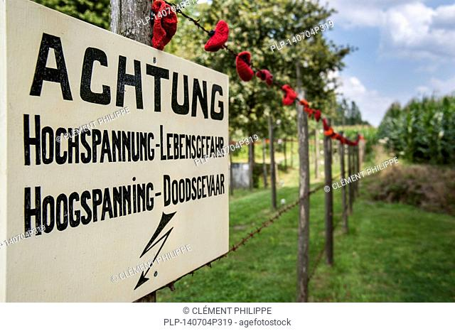 Warning sign for Wire of Death / Dodendraad, lethal electric fence created by the German military to control the Dutch-Belgian frontier during the First World...