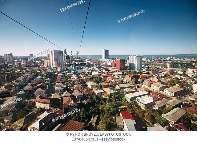 Batumi, Adjara, Georgia. Aerial Lift Cableway In Sunny Summer Day. Pendant Road Is Local Landmark