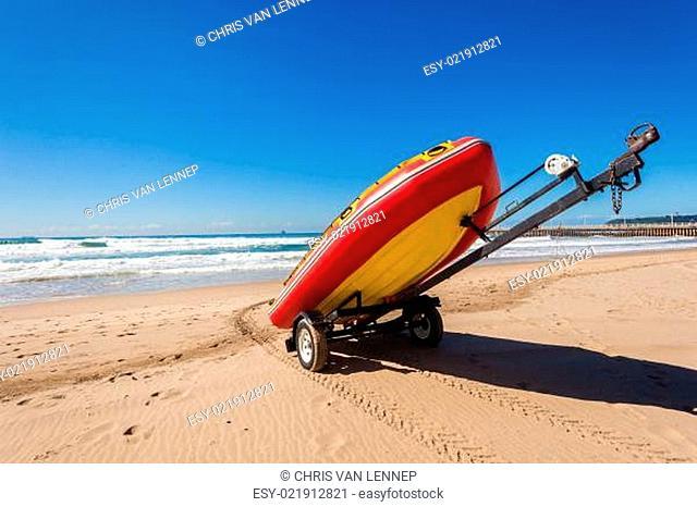 Beach Lifeguard Inflatable Boat Skis Ocean