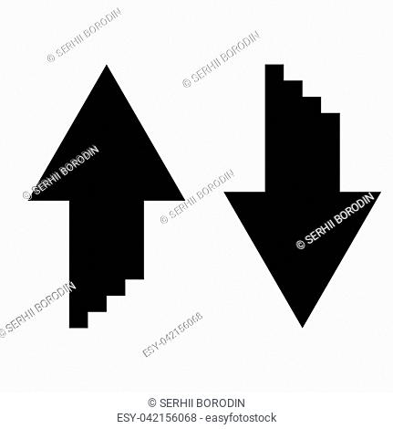 Two arrows with sumulation 3d effect for upload and download icon black color vector illustration flat style simple image
