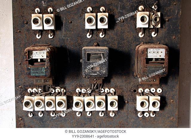 Electrical Panels in Kolmanskop Ghost Town - Luderitz, Namibia, Africa
