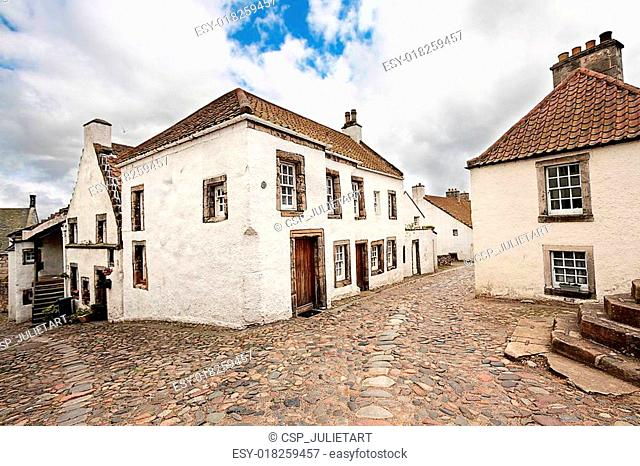 Old street and historical houses in Culross, Scotland