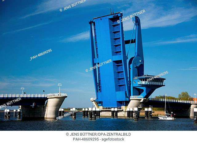 The Peene drawbridge is up between the Isle Usedom and Wolgast, Germany, 29 April 2014. The Peenestrom seperates Usedom from the mainland