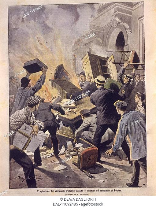 France, 20th century - Uprisings in France, winemakers set Beziers Town Hall on fire. Cover illustration from La Domenica del Corriere