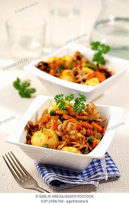 Octopuses with vegetables