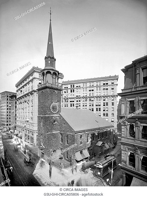 Old South Meeting House & Old South Building, Boston, Massachusetts, USA, Detroit Publishing Company, 1905