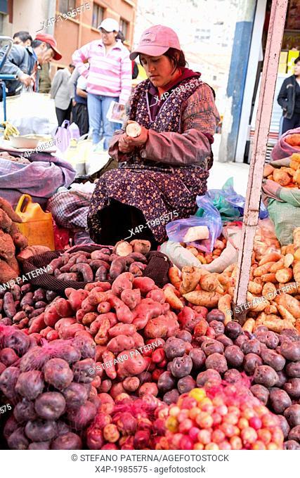Vendor, Produce based Rodriguez market, La Paz, Bolivia
