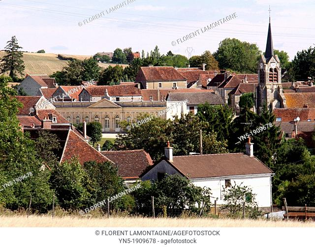 Tonw of France, Burgundy, Yonne, Yrouerre with its church and its famous orangery