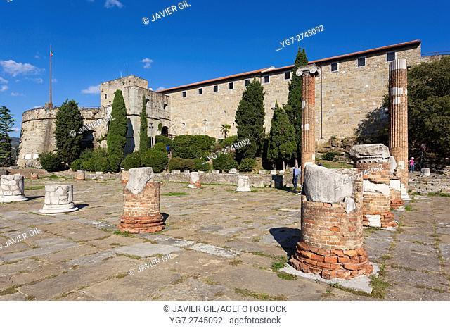 Roman Basilica Ruins, San Giusto, Trieste, Friuli-Venezia Giulia, Italy