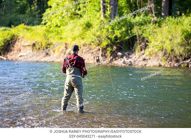 Fly fisherman casting a fly rod to rising fish on the McKenzie River in Oregon while catch and release fishing for native redside rainbow trout