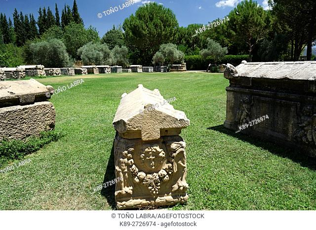 Sarcophagi with Garland (Roman Period). Aphrodisias. Ancient Greece. Asia Minor. Turkey