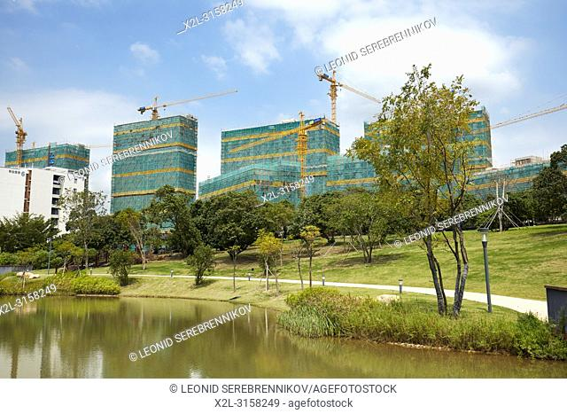 Construction of new buildings on the campus of Southern University of Science and Technology (SUSTech). Shenzhen, Guangdong Province, China