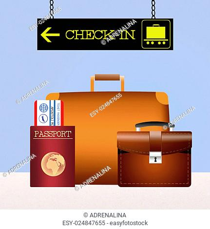 illustration of baggage checked