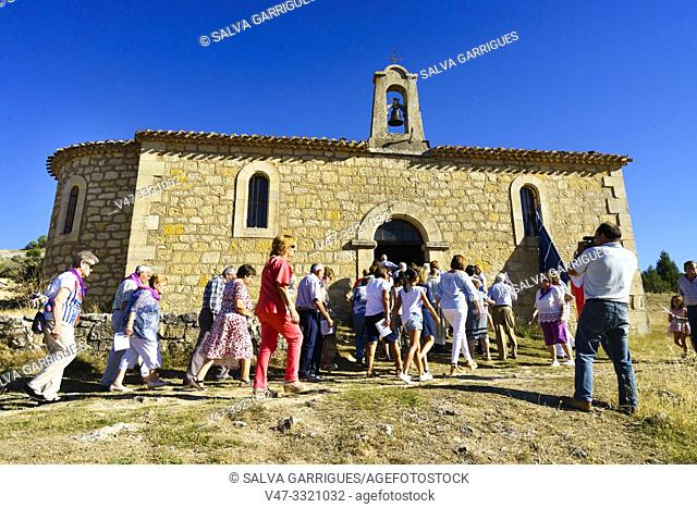 dance to her patona in the procession, Hermitage of the Virgen del Camino, Santo Domingo de Silos, Burgos, Castilla y Leon, Spain