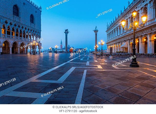 Venice, Italy. Piazzetta San Marco in a summer dawn, near St. Mark's Square