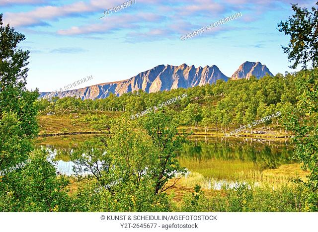 Little lake on island Hinnoya. Troms, northern Norway, Europe