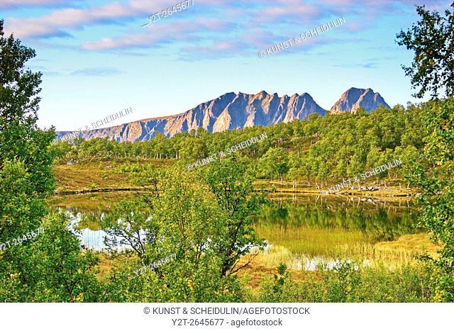 Little lake on island Hinnoya. Troms, northern Norway, Europe