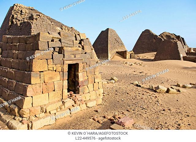 Pyramids of Meroe. The kingdom of Meroe existed in 1,200 years, only to continue in the shape of the kingdom of Nubia(1,100 years)