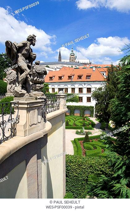 Czech Republic, Prague, Vrtbovska garden, St Vitus Cahedral in background